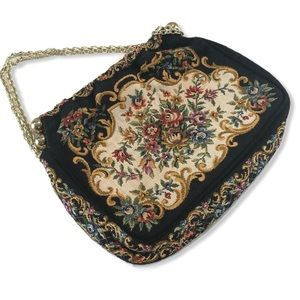 Vintage Floral Fabric Mini Bag with Gold Strap
